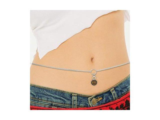 Sterling Silver Belly Chain with Orange Smiley Charm
