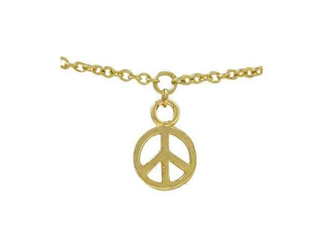 Belly Chain 14k Gold Plated with Peace Sign Charm