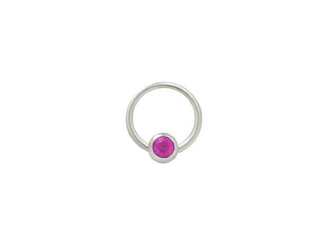 Captive Bead Ring Surgical Steel with 6mm Fuschia Gem Bead 14G 1/2