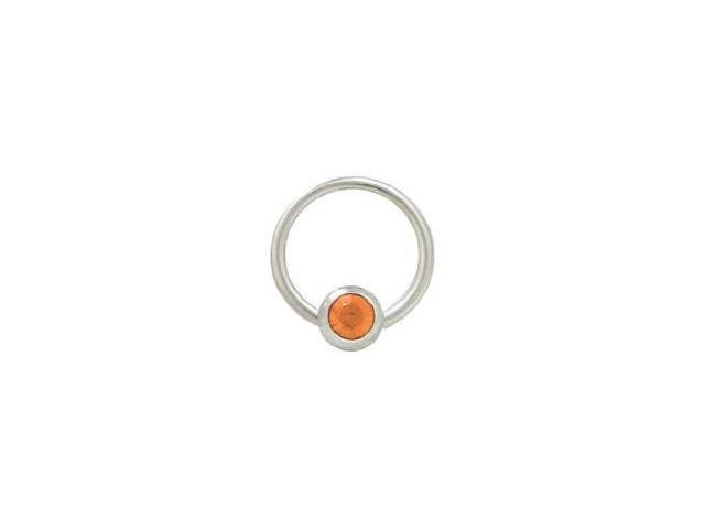 Captive Bead Ring Surgical Steel with 6mm Orange Gem Bead 14G 1/2