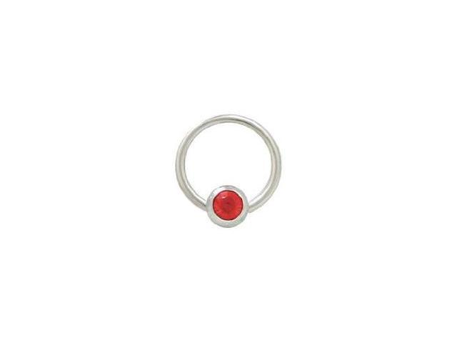 Captive Bead Ring Surgical Steel with 6mm Red Gem Bead 14G 1/2