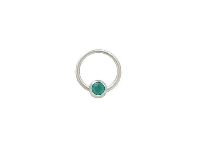 Captive Bead Ring Surgical Steel with 6mm Turquoise Gem Bead 14G 1/2