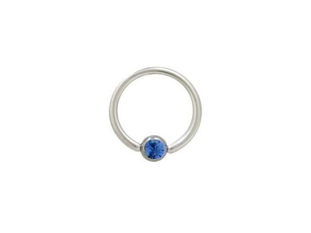 Captive Bead Ring Surgical Steel with Blue Jewel - 14G - 1/2