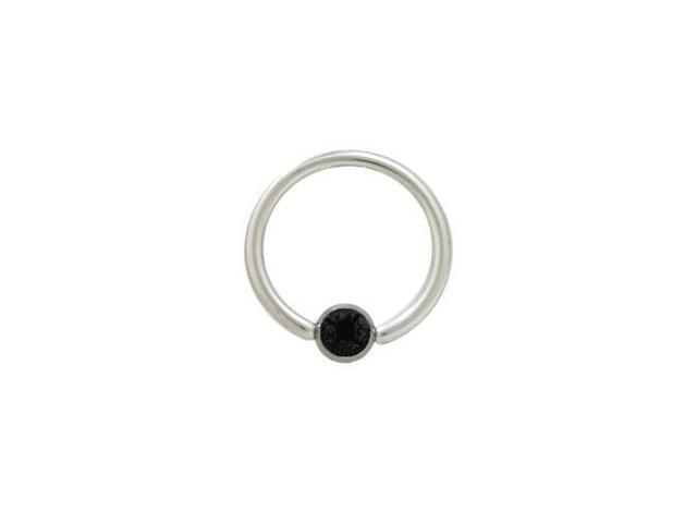 Captive Bead Ring Surgical Steel with Black Jewel - 14G - 1/2