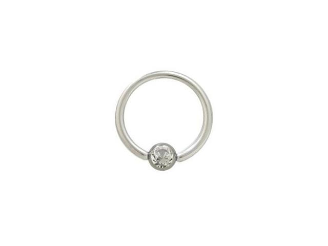 Captive Bead Ring Surgical Steel with Clear Jewel - 14G - 1/2