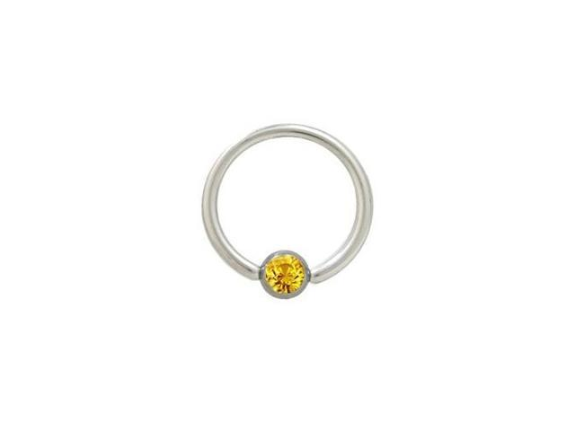 Captive Bead Ring Surgical Steel with Orange Jewel - 14G - 1/2