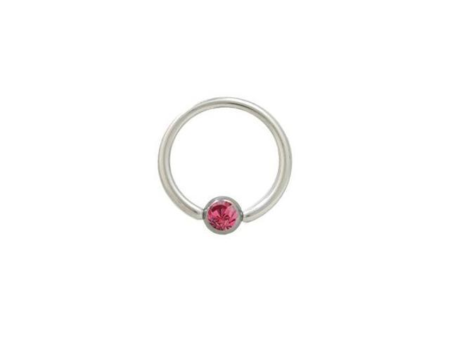 Captive Bead Ring Surgical Steel with Pink Jewel - 14G - 1/2