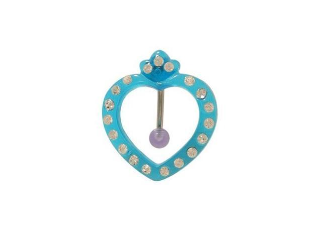 Acrylic Blue Heart Reversed Belly Ring with Cz Gem
