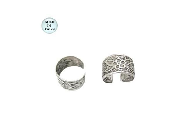 Antique Flower Design Ear Cuffs Sterling Silver