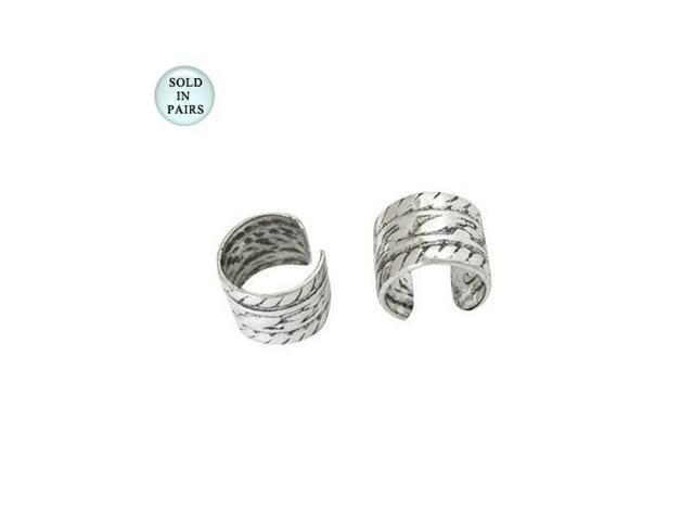 .925 Sterling Silver Small Ear Cuffs with Antique Design