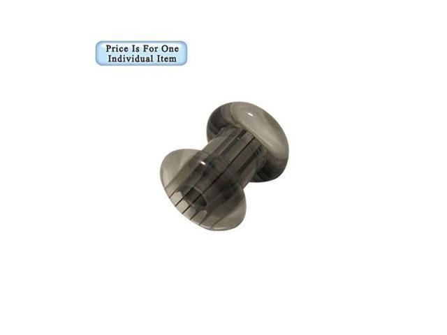 Black Gray White Stripes Uv Acrylic Ear Plug - 2 Gauge
