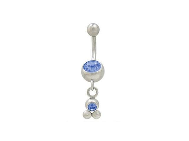Dangling Balls Belly Button Ring with Blue Cz Jewels