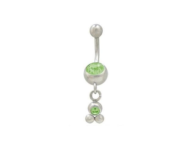 Dangling Balls Belly Button Ring with Green Cz Jewel
