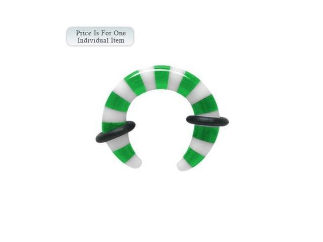 Green and White 8 Gauge Acrylic Ear Stretcher