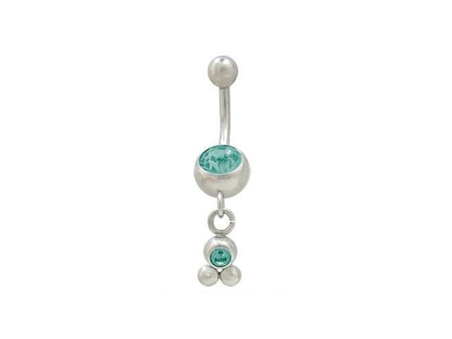 Dangling Balls Belly Button Ring with Turquoise Cz Jewel