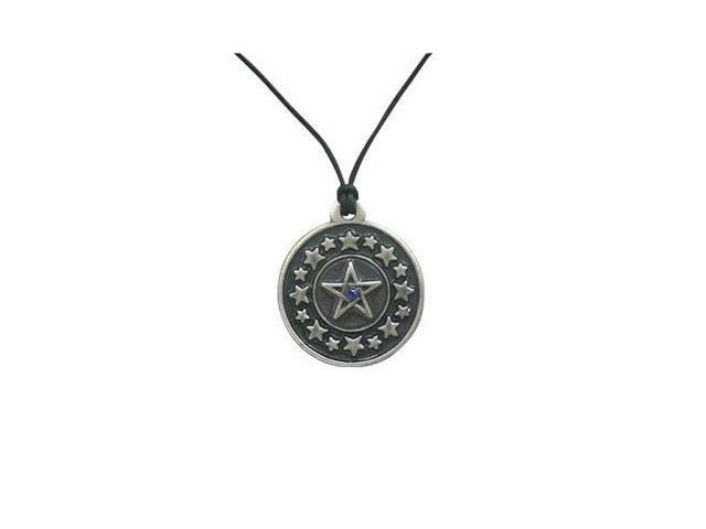 Pentagram in the Star Circle Pendant Necklace with Cz Jewel