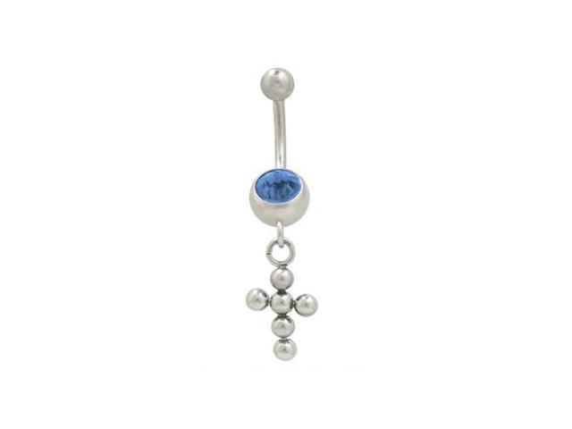 Dangling Cross Balls Belly Button Ring with Blue Cz Jewel