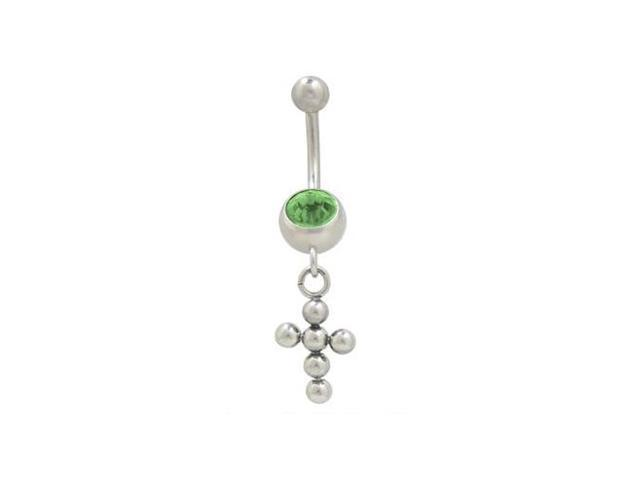 Dangling Cross Balls Belly Button Ring with Green Cz Jewel
