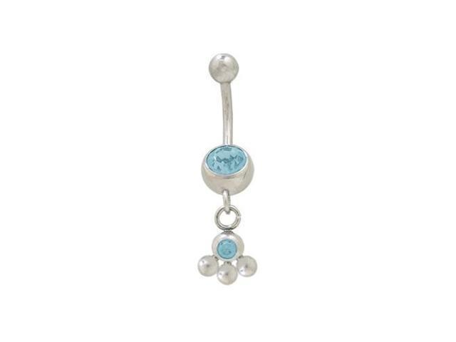 Dangling Balls Belly Button Ring with Light Blue Cz Jewel