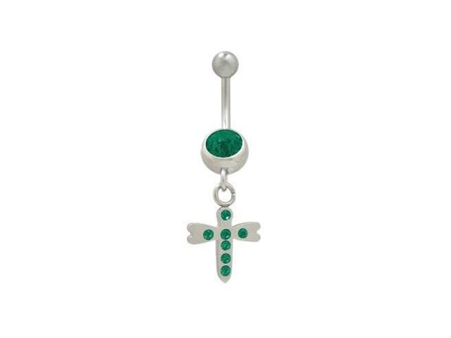 Dragonfly Belly Ring with Green Jewels