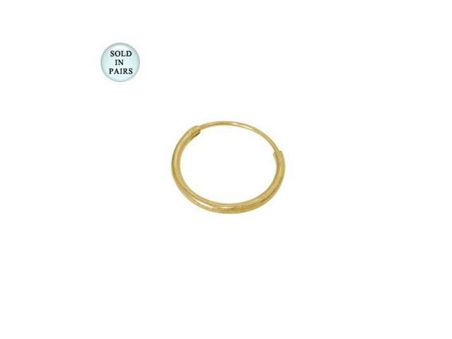 14k Gold Electro Plated Over Sterling Silver Hoop Earrings (12mm)