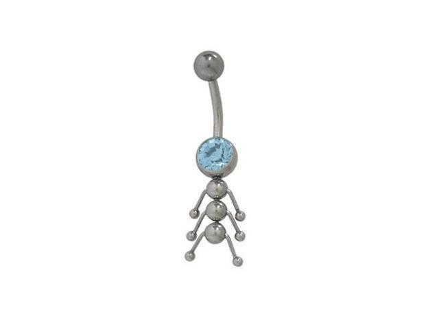 Catarpillar Belly Button Ring with Light Blue Cz Jewel