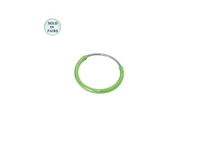 Green Hoop Earrings (1/2 inch)