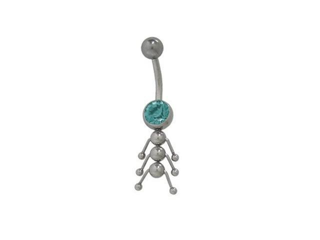 Catarpillar Belly Button Ring with Turquoise Cz Jewel