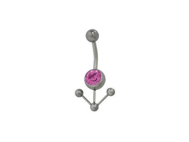 Arrow Pointing Down Surgical Steel Belly Ring with Purple Cz Jewel