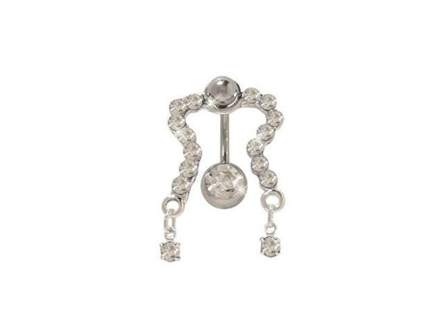 Classic Reversed Belly Ring with Clear Cz Gems