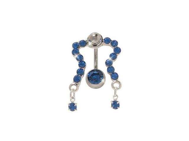 Classic Reversed Belly Ring with Dark Blue Cz Gems