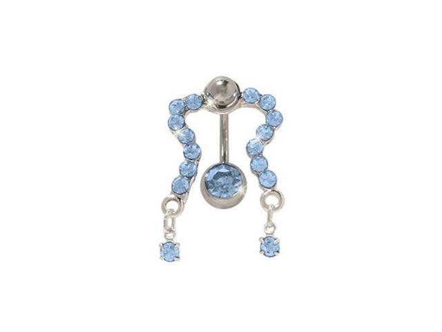 Classic Reversed Belly Ring with Light Blue Cz Gems