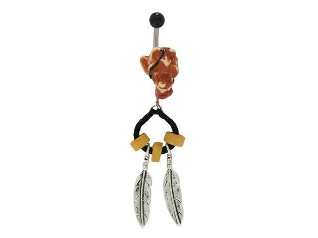 Zombie Head Belly Ring with Dangling Feathers