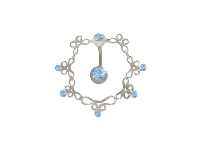 Antique Reversed Belly Ring with Light Blue Cz Gems
