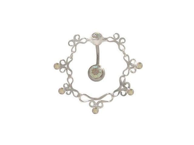Antique Reversed Belly Ring with Opal Cz Gems