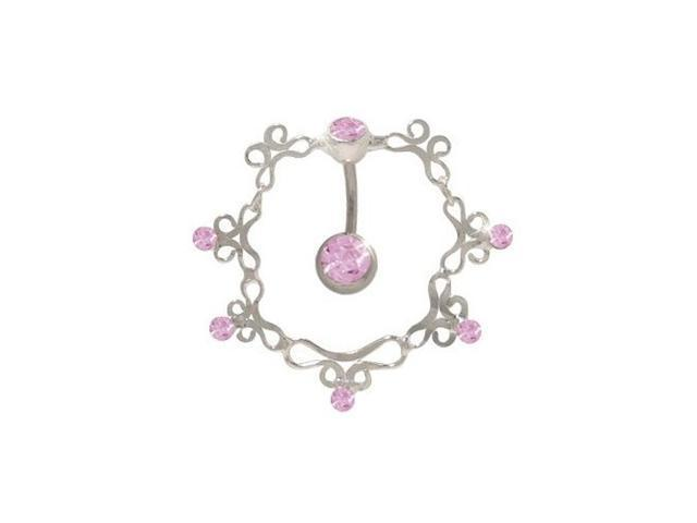 Antique Reversed Belly Ring with Pink Cz Gems