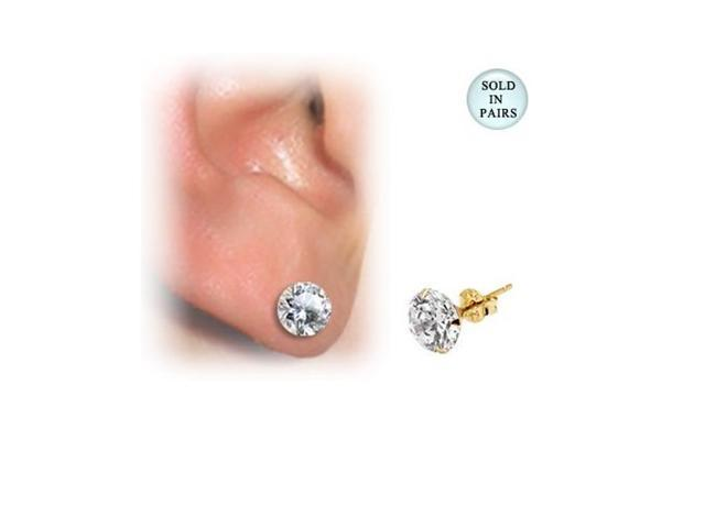 14k Gold Martini Ear Studs with Clear CZ Jewel (4mm)