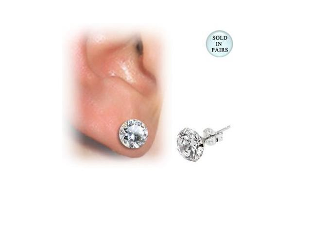 Sterling Silver Martini Ear Studs with Clear CZ Jewel (6mm)