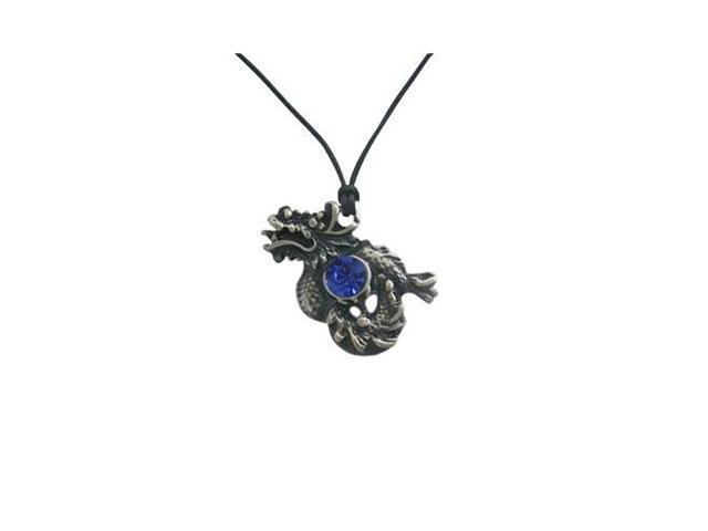 Dragon of Darkness Pendant Necklace with Blue Cz Jewel