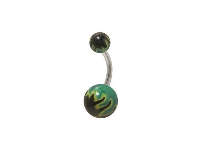 Acrylic Black and Green Flames Belly Button Ring