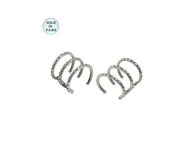 Sterling Silver Ear Cuffs Three Ring Design