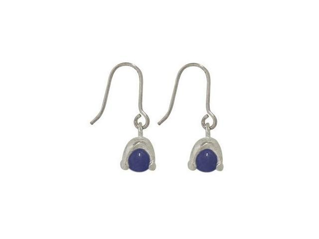 Sterling Silver Earrings with Blue Semi-precious Stone