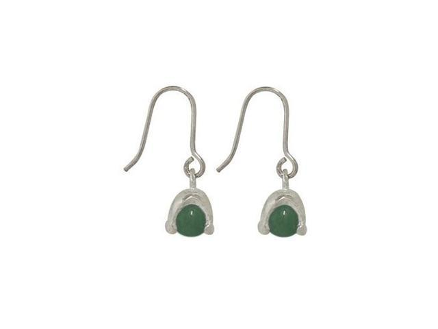 Sterling Silver Earrings with Green Semi-precious Stone