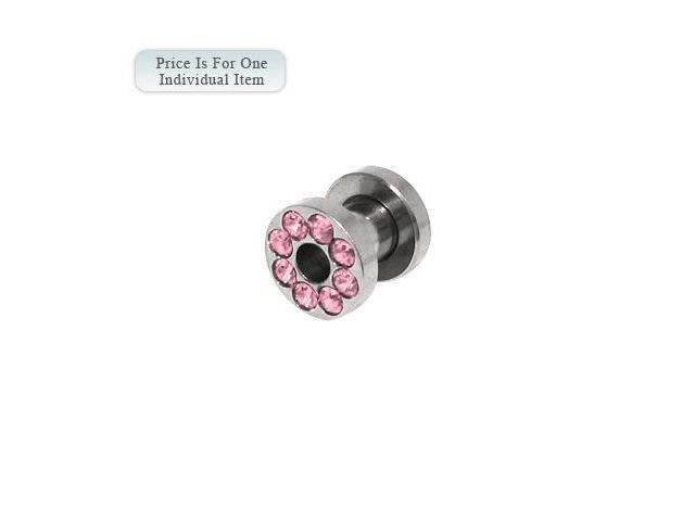 Surgical Steel Screw Fit Ear Plug with Pink Cz Gems 2 Gauge