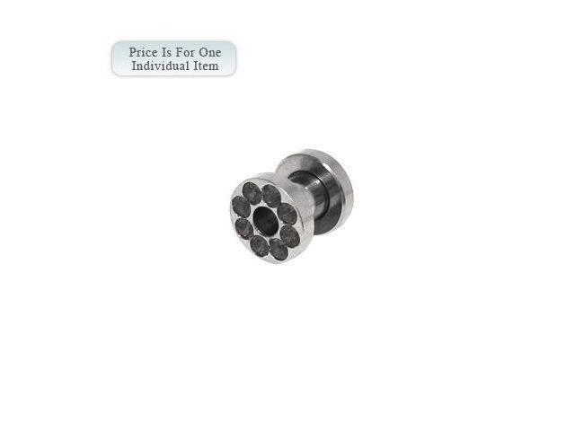 Surgical Steel Screw Fit Ear Plug with Black Cz Gems 4 Gauge