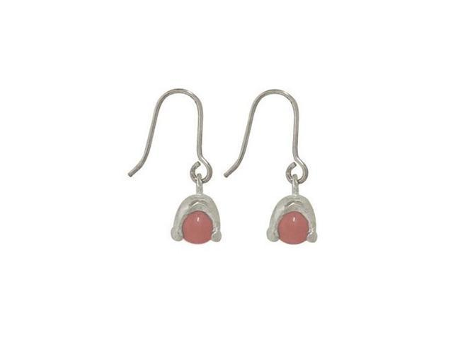 Sterling Silver Earrings with Pink Semi-precious Stone