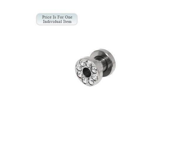 Surgical Steel Screw Fit Ear Plug with Clear Cz Gems 4 Gauge