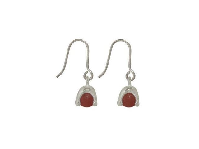 Sterling Silver Earrings with Red Semi-precious Stone