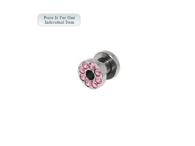 Surgical Steel Screw Fit Ear Plug with Pink Cz Gems 4 Gauge