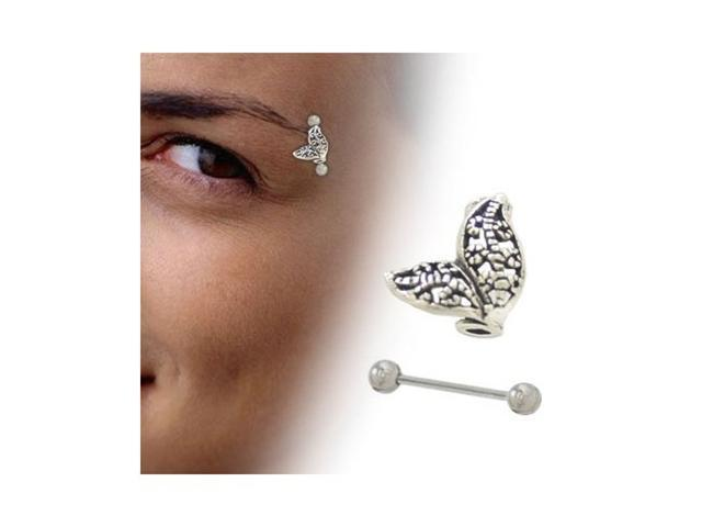 Sterling Silver Antique Design Eyebrow Shield with Barbell